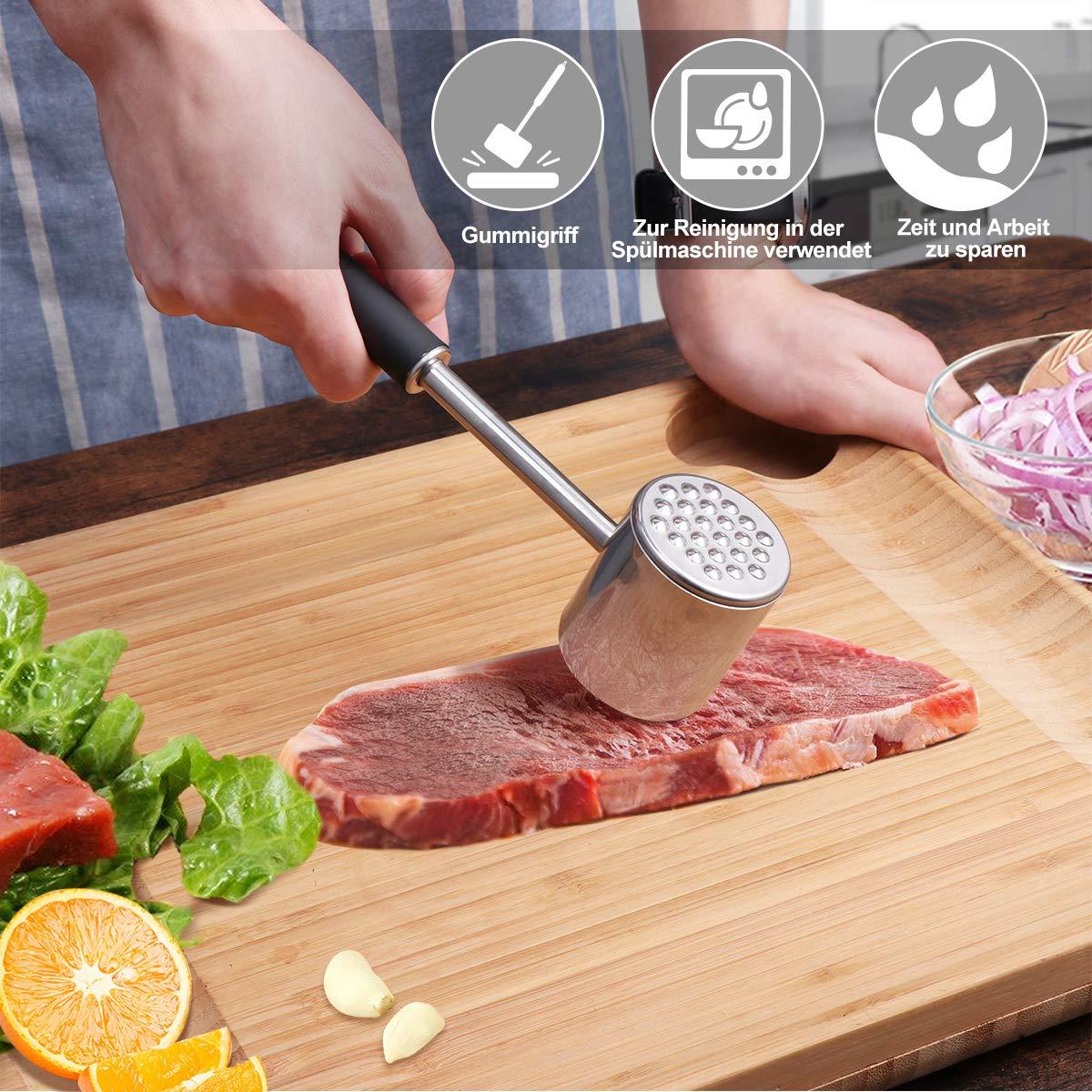 Homemaxs Fleischklopfer Doppelseitig Fleischklopfer-Tool 304 Edelstahl Sp/ülmaschinenfest