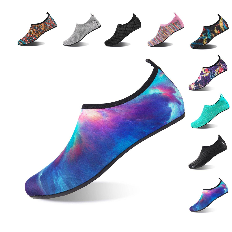 NINGMENG Aqua Socks Beach Water Shoes Barefoot Yoga Socks Quick-Dry Surf Swim Shoes for Women Men (Aurora, 34/35EU)