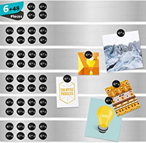 Magnetic Board Magnetic Strips with Adhesive Backing Magnetic Strips Adhesive Magnetic Strip for Wall Memo Board with Pushpins for School Office and Home (6 Pieces)