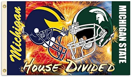 NCAA Michigan-Michigan State 2-Sided Garden Flag-Rivalry House Divided