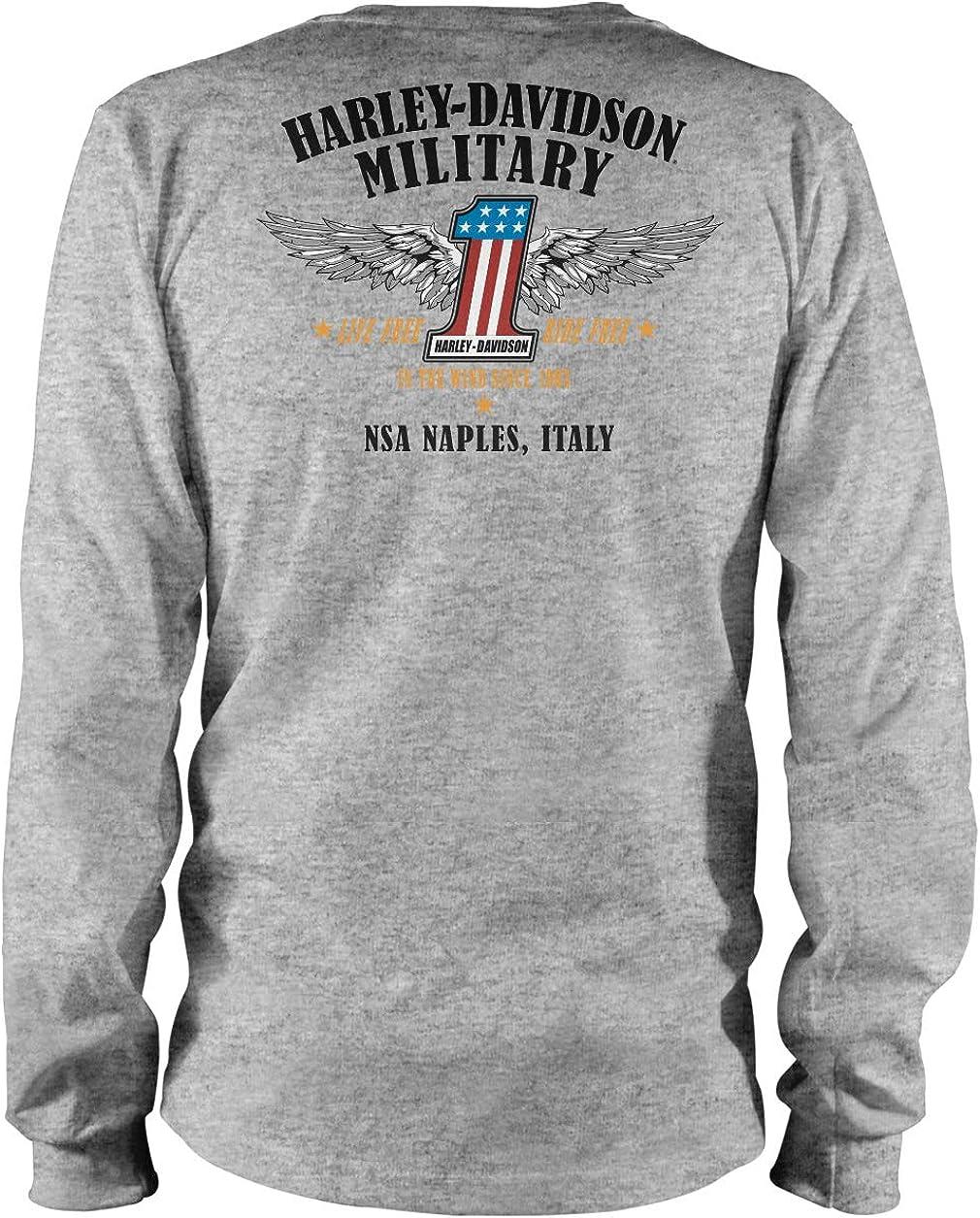 HARLEY-DAVIDSON Militar – Camiseta Deportiva de Manga Larga para Hombre, diseño de NSA Naples | Summit - Gris - 3X-Large: Amazon.es: Ropa y accesorios
