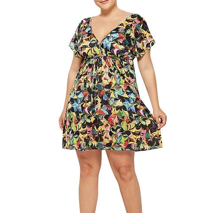 VEMOW Falda Larga Mujer Vestido Extra Grande con Estampado Floral ...
