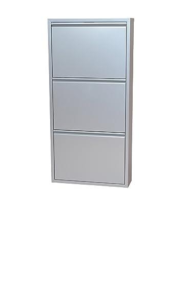 moebel direkt online Schuhkipper _ Metallschuhschrank mit 3 Klappen _ Raumspar-Schuhschrank