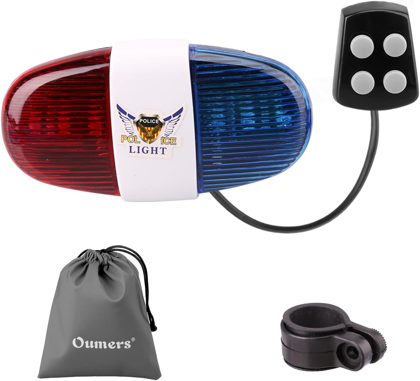 Oumers Bicycle Police Sound Light, Bike LED Light Electric Horn Siren Horn Bell, 5 LED Light 4 Sounds Trumpet, Warning Safety Light, Waterproof Bicycle Lights Accessories, No Batteries in