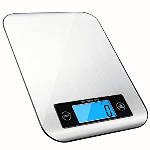 Digital Kitchen Food Scale, RedMiter Kitchen Gram Scales Digital Weight Grams and Ounces with 1g/0.05 oz Accuracy, 22lb/10kg Max, Clear LCD Display, for Cooking Baking Postage, Batteries Included