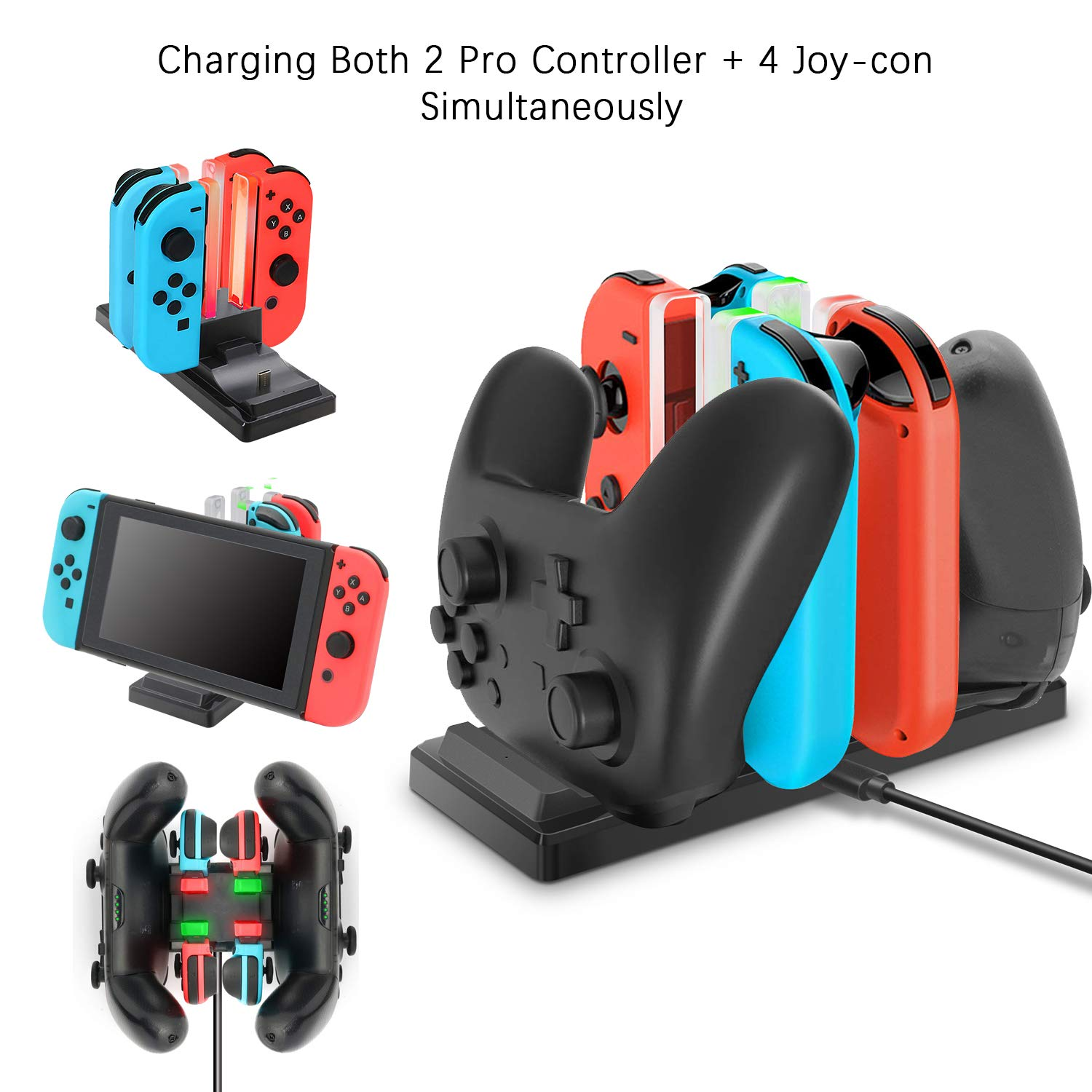BOOGIIO Controller Charger for Nintendo Switch, 6 in 1 Charging Dock Stand Station for Switch Joy-cons and Pro Controllers with Colored Charging Indicator and Type-C Charging Cable