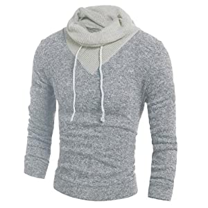 Doinshop Men's Fashion Sweater Long Sleeve Turtleneck Pullover Slim Fit Casual Tops (XXL, Gray)