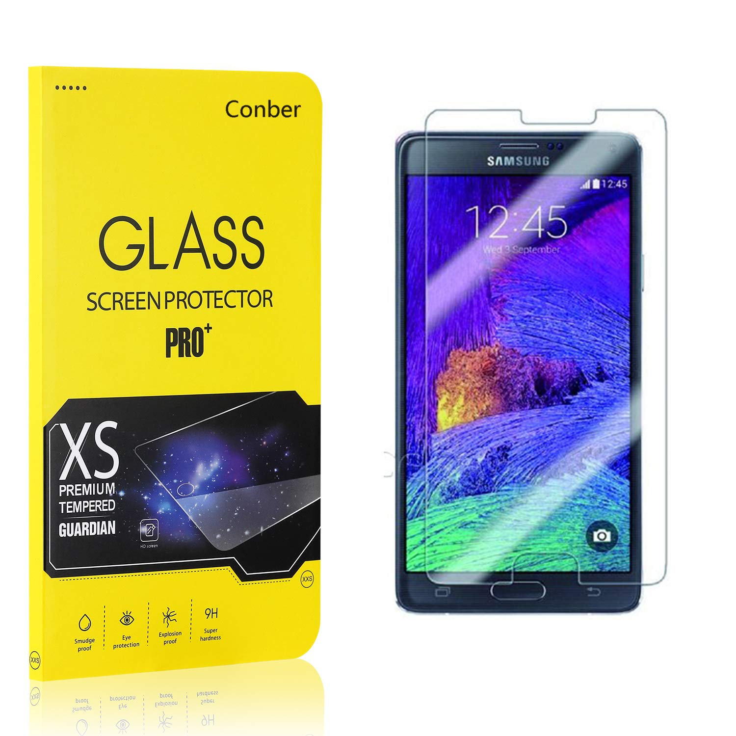 Premium Tempered Glass Screen Protector for Samsung Galaxy Note 4 Screen Protector for Samsung Galaxy Note 4, Conber Anti-Shatter 1 Pack Scratch-Resistant Case Friendly