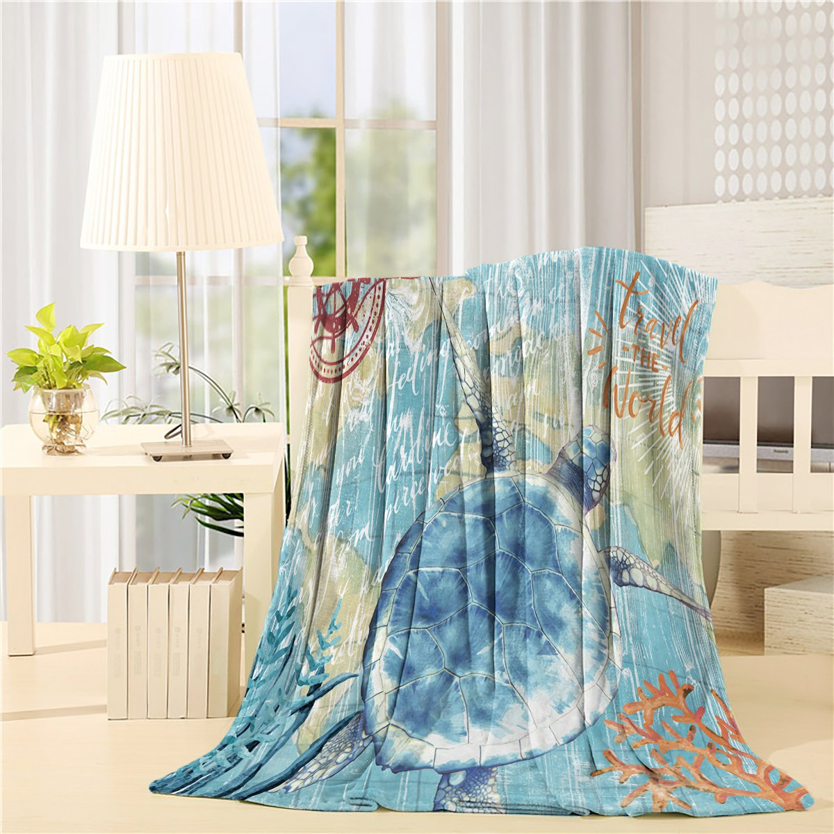 SUN-Shine Luxury Throw Blanket Soft Flannel Fleece Lightweight Cozy Plush Microfiber Blankets Sofa Couch Bed-Custom Design Sea Turtle Ocean Animal Watercolor