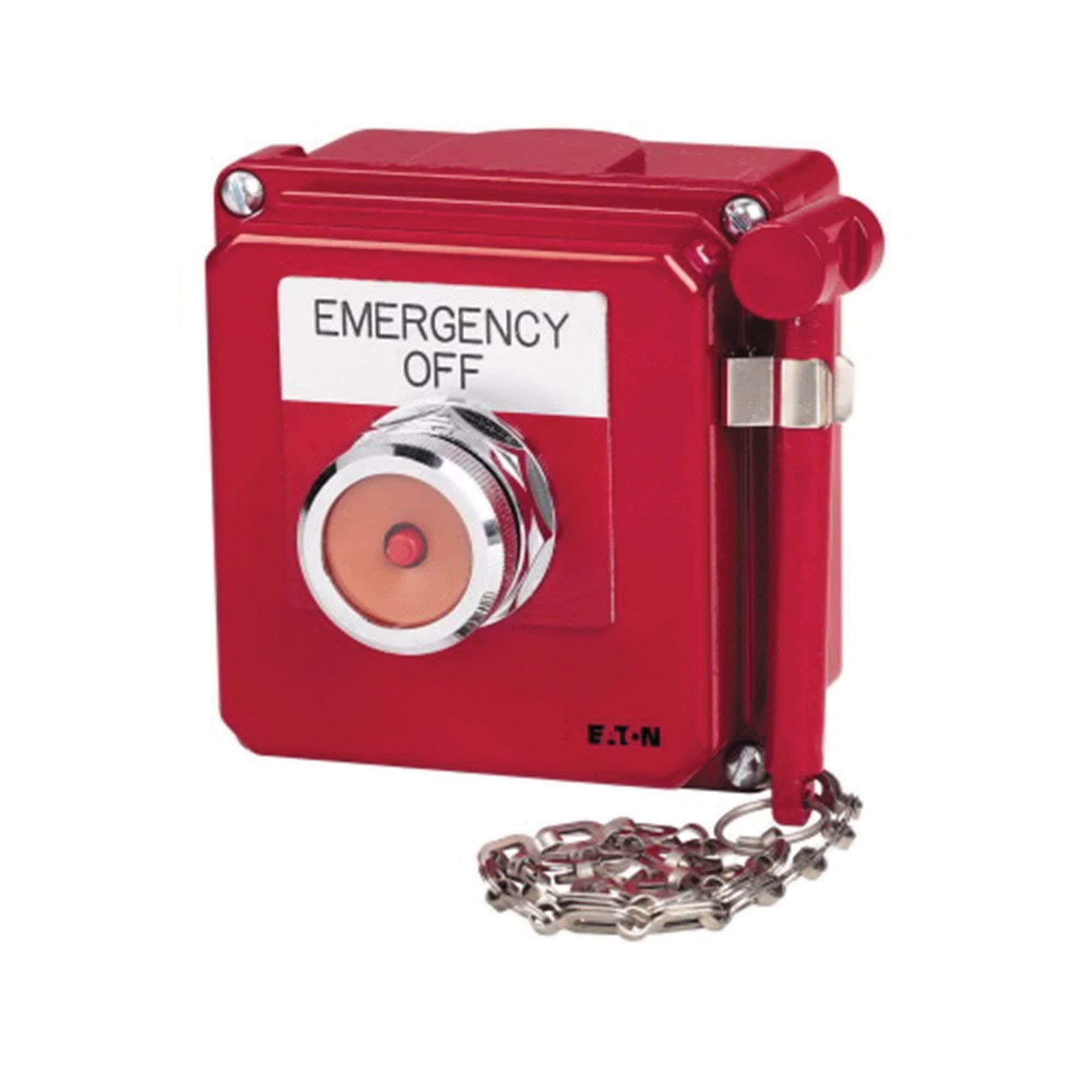 Eaton 10250TGR 1 NC Heavy-Duty Break Glass Station 30.5 mm Red