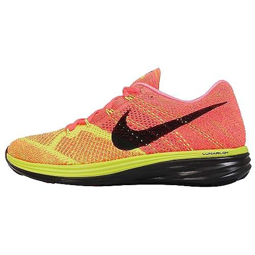 100% authentic d21d4 79ff7 Nike Flyknit Lunar 3 Mens Hot Lava Black Volt Laser Orange Running Sneakers