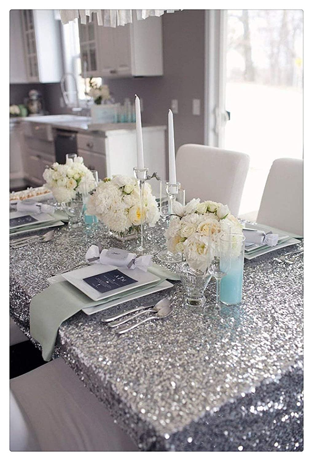 "B-COOL Silver Sequin Tablecloth 50""x80"" Sequin Glamorous Tablecloth for Halloween/Thanksgiving Day/Wedding/Party/Curtain/Birthday/Christmas/New Year and Other Event Decor"