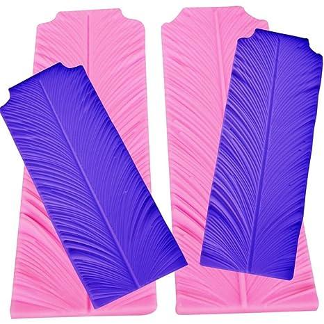 Moldes de silicona para fondant de 2 piezas con diseño de plumas de pavo real,