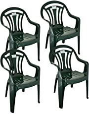 h Pack of 4 Low Back Garden Chairs