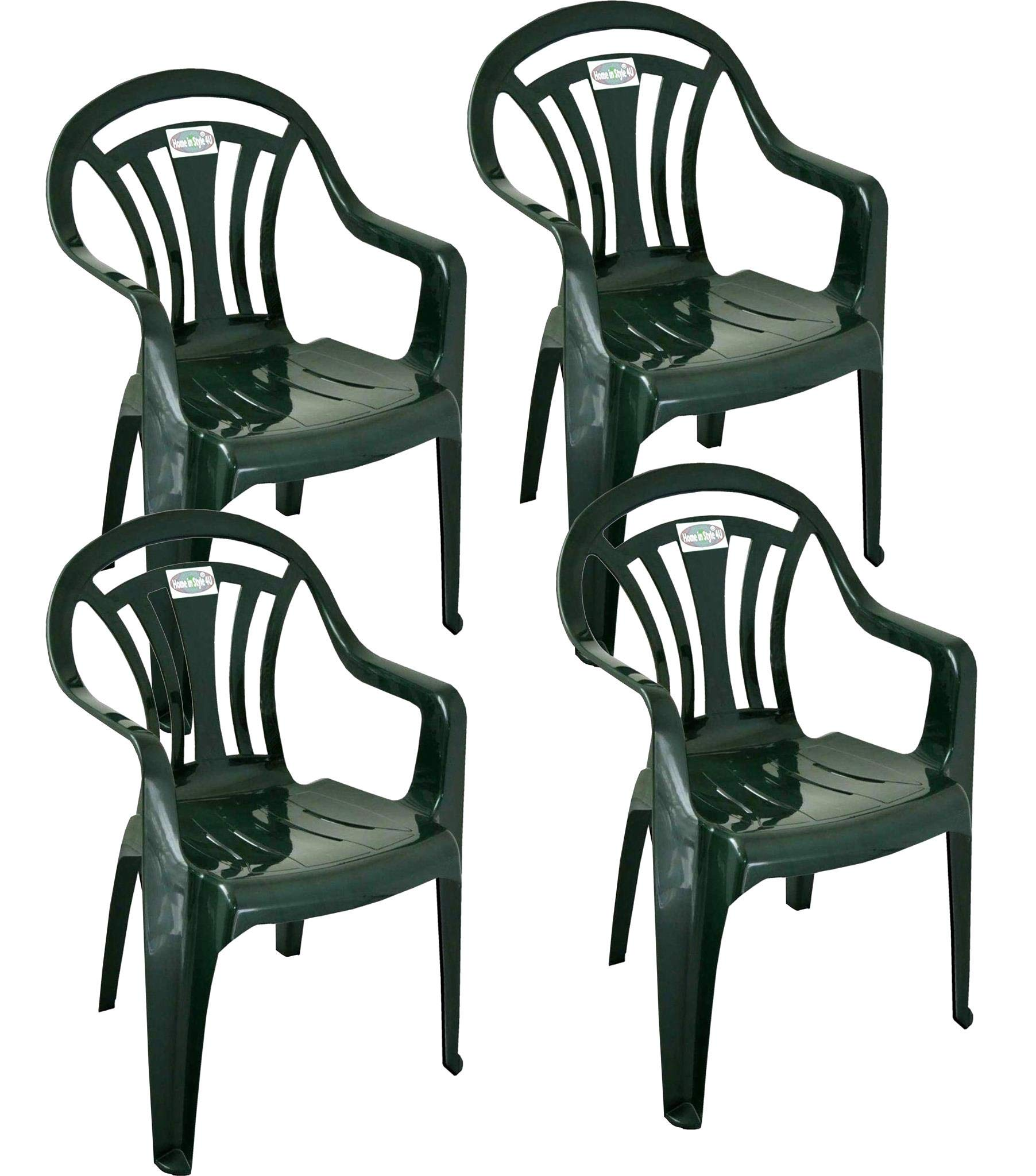Pack of 10 Green Low Back Garden Chairs