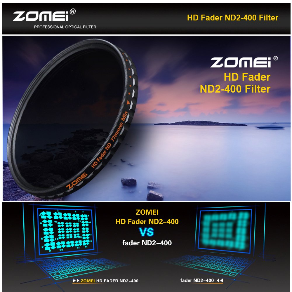 Zomei 77mm Nd2 Nd400 Fader Variable Density Neutral Filter Nd Slim Adjustable 2 400 To 49mm 49 Mm Fotga Lens Ultra German Schott Optical Glass Camera Photo