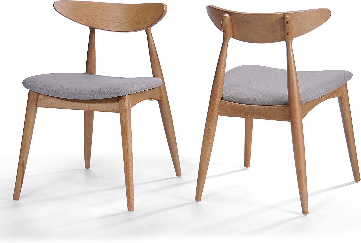 Christopher Knight Home Issaic Light Grey Fabric with Oak Finish Dining Chairs Set of 2