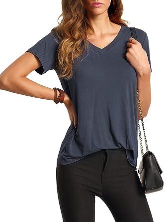 319a8c2688e Floerns Women s V Neck Short Sleeve Casual T-Shirt at Amazon Women s ...