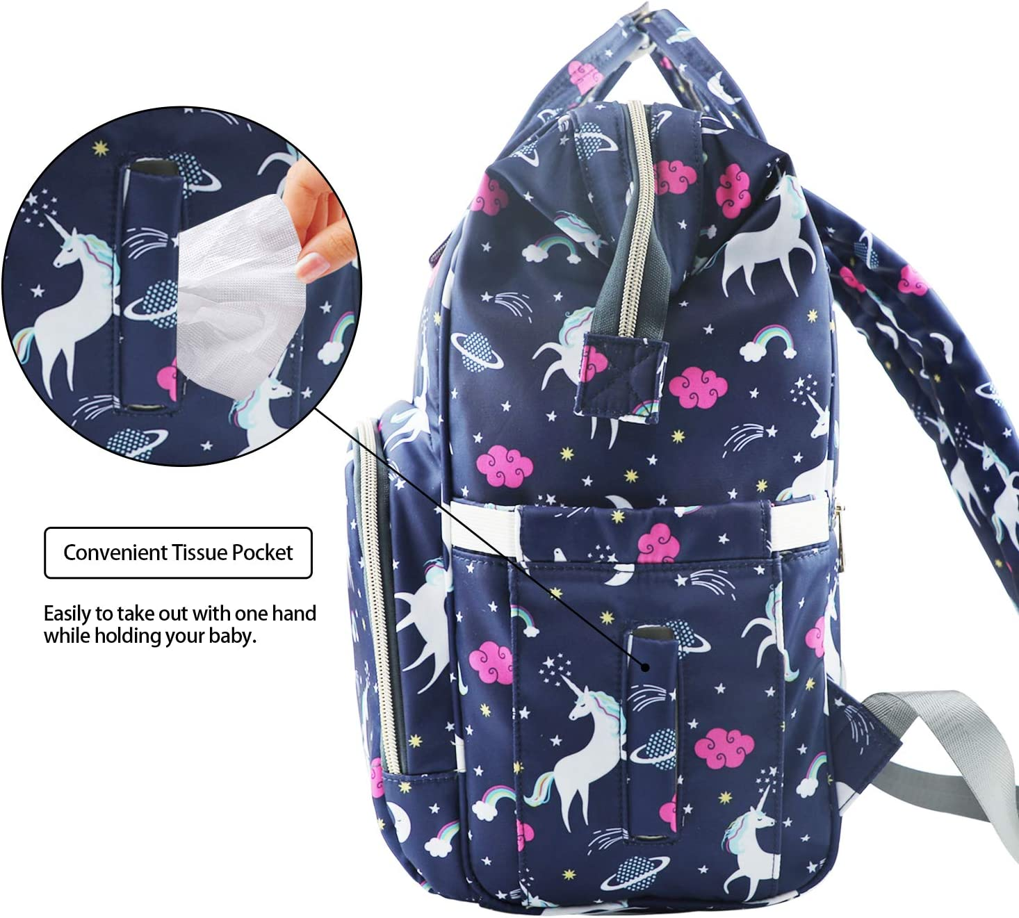 MiGer Diaper Bag Backpack for Mom Dad Pink Large Capacity Unicorn Baby Diaper Bag Bookbag for Boys Girls Maternity Nappy Bags