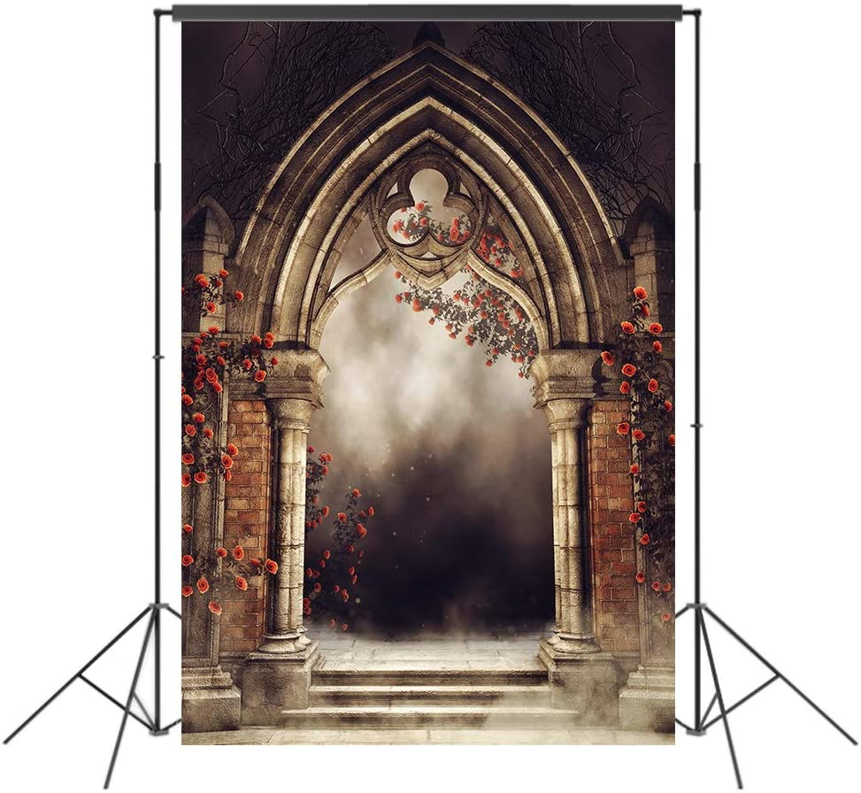 UrcTepics 5x7ft Microfiber Old Arch Photography Backdrop Flower Enchanted Garden Forest Arch Fog Theme Wedding Photography Background Old Arch Interior Decororation Studio Props