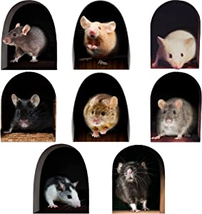 8 Pieces Realistic 3D Mouse Hole Wall Sticker Fun Animal Stickers Kids Funny Stickers for Living Room Kindergarten Nursery Bedroom Kids Room Home Decor Wall Decoration