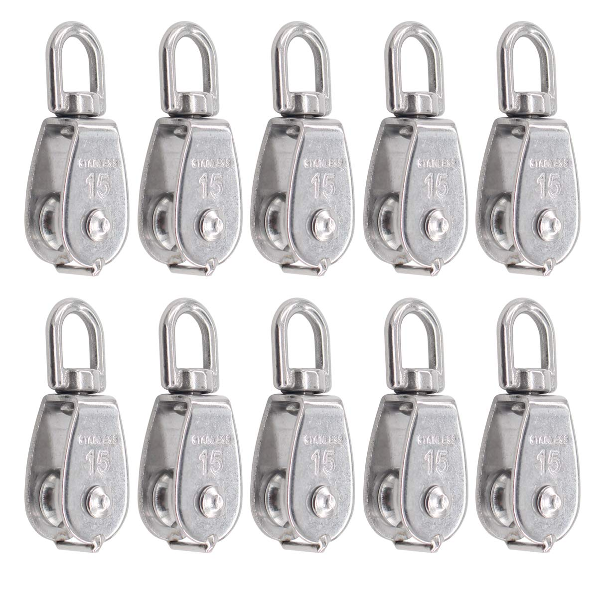 ApplianPar Pack of 10 Stainless Steel 15MM Wire Rope Crane Single Pulley Block M15 Lifting Crane Swivel Hook Hanging Towing Roller Wheel