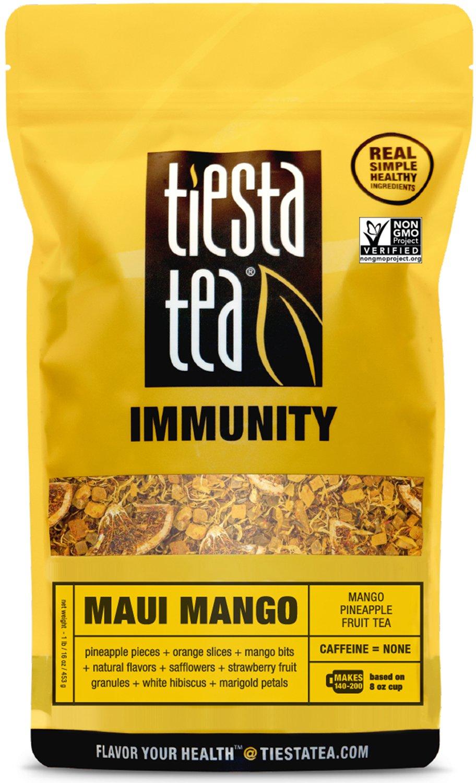 Tiesta Tea Maui Mango, Mango Pineapple Fruit Tea, 200 Servings, 1 Pound Bag, Caffeine Free, Loose Leaf Herbal Tea Immunity Blend, Non-GMO