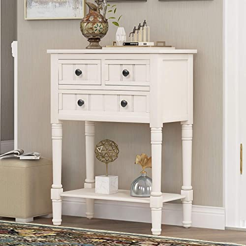 Hall Table Narrow Console Table, Slim Sofa Table with Three Storage Drawers and Bottom Shelf for Living Room, Easy Assembly Hall Stand, Several Colors for Choice Ivory White
