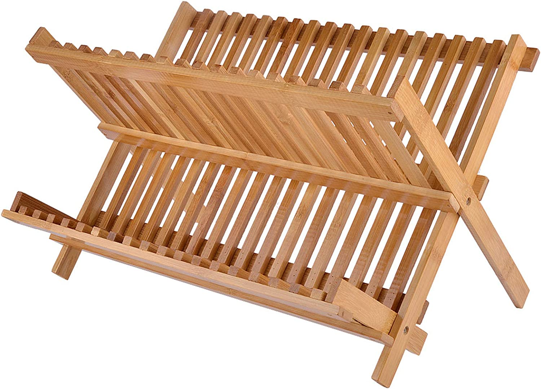"SZUAH Bamboo Dish Drying Rack, Collapsible Dish Drainer, Foldable Dish Rack Bamboo Plate Rack, by 100% Natural Bamboo (17.5"" x 13"" x 9.6"") …"