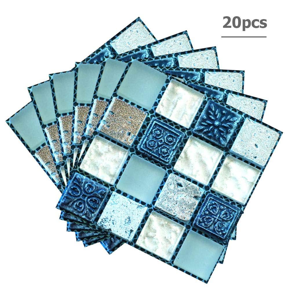 20pcs adesivi murali autoadesivi impermeabili 3D fai da te adesivi per piastrelle adesivi murali trasferimenti adesivi per piastrelle decorazione per soggiorno cucina camera da letto bagno 4