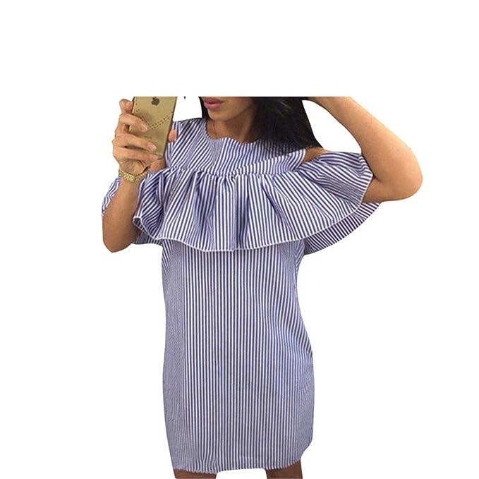 Ygosoon dress Blue Striped Dress Women Straight Mini Dresses Butterfly Sleeve Vestidos