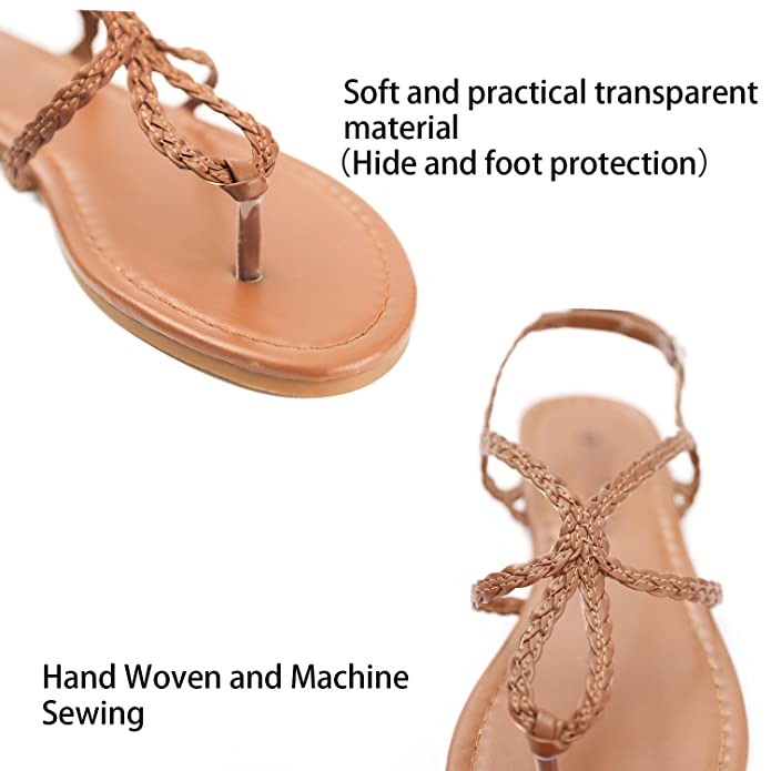3c9b1ea98 Flats Fasehold Women Flat Sandals Flip Flop Tong Ankle Strap Summer Shoes  with Fashion Triangle Metal