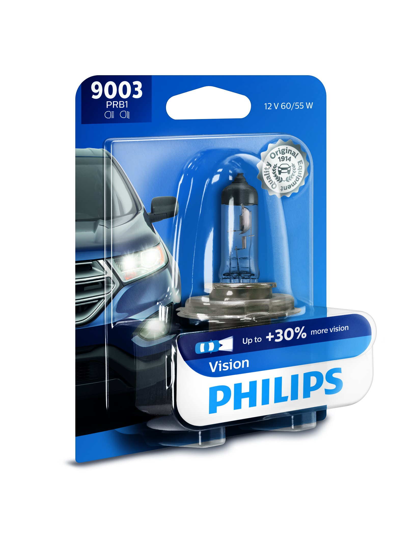 Philips 9003 Vision Upgrade Headlight Bulb with up to 30% More Vision, 1 Pack