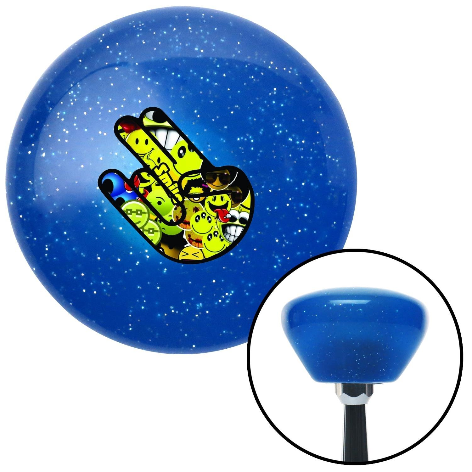 American Shifter 191415 Blue Retro Metal Flake Shift Knob with M16 x 1.5 Insert Smiley Face JDM Shocker Hand