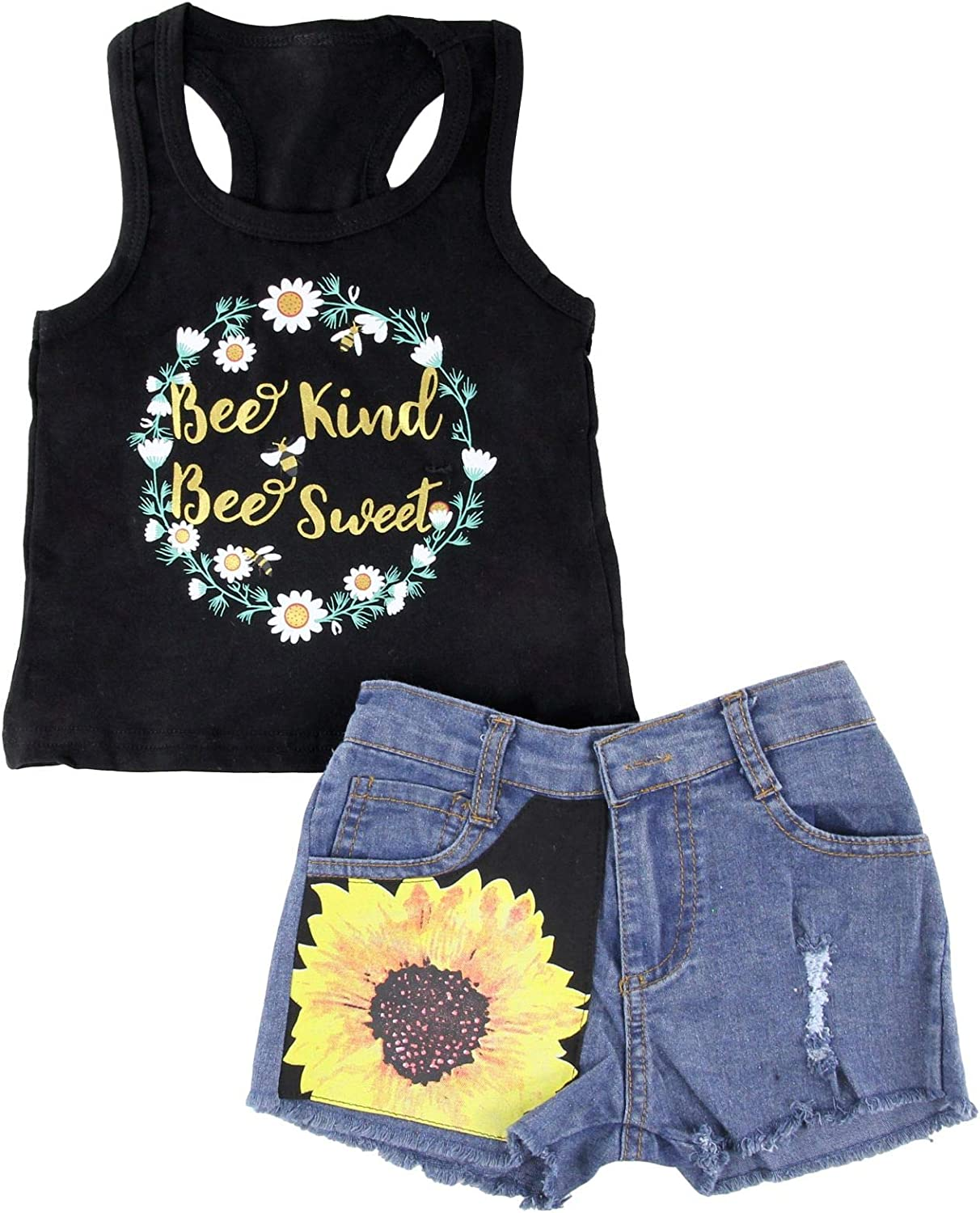 2PCS Toddler Kids Baby Girls Clothes Sunflower T-shirt Tops+Pants Outfits Sets