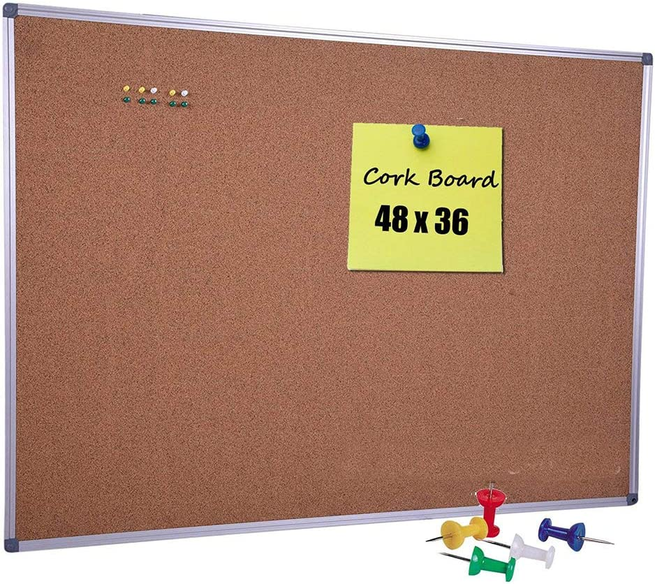 Dexboard Large Cork Board 48 X 36 Inch With Satin Finished Aluminum Frame Notice Bulletin Board Memo Pin Board For Office And Home Usage Ten Free Pins Included Office Products