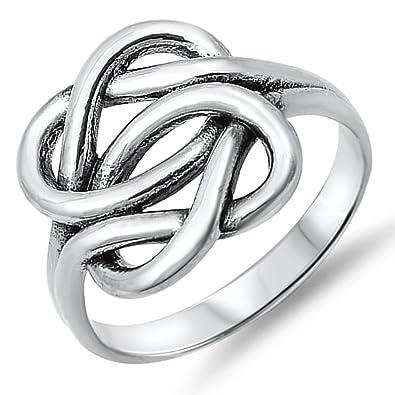 Plata de Ley Celtic para mujer sólido grueso anillo tamaños 6 - 10: Amazon.es: Joyería