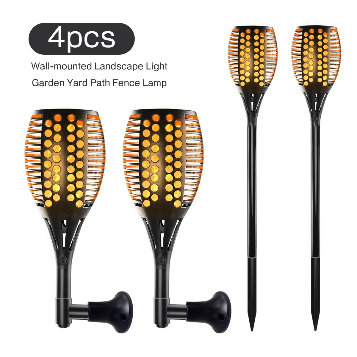 4 Pack Led Solar-Powered Dancing Flame Outdoor Torch Light, Tiki Torch Landscape Lights for Patio Path Backyard Garden Camping or Party, Flickering Fire Atmosphere Decorative Lamps for Indoor&Outdoor
