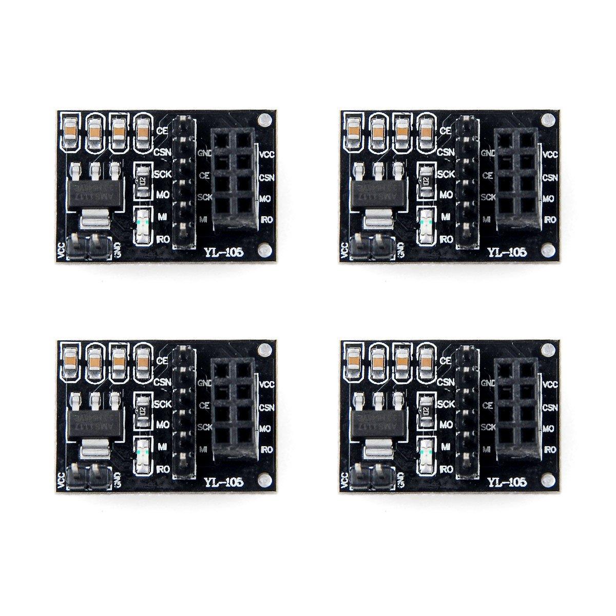 4pcs NRF24L01 Wireless Module Breakout Adapter with on-board 3.3V Regulator