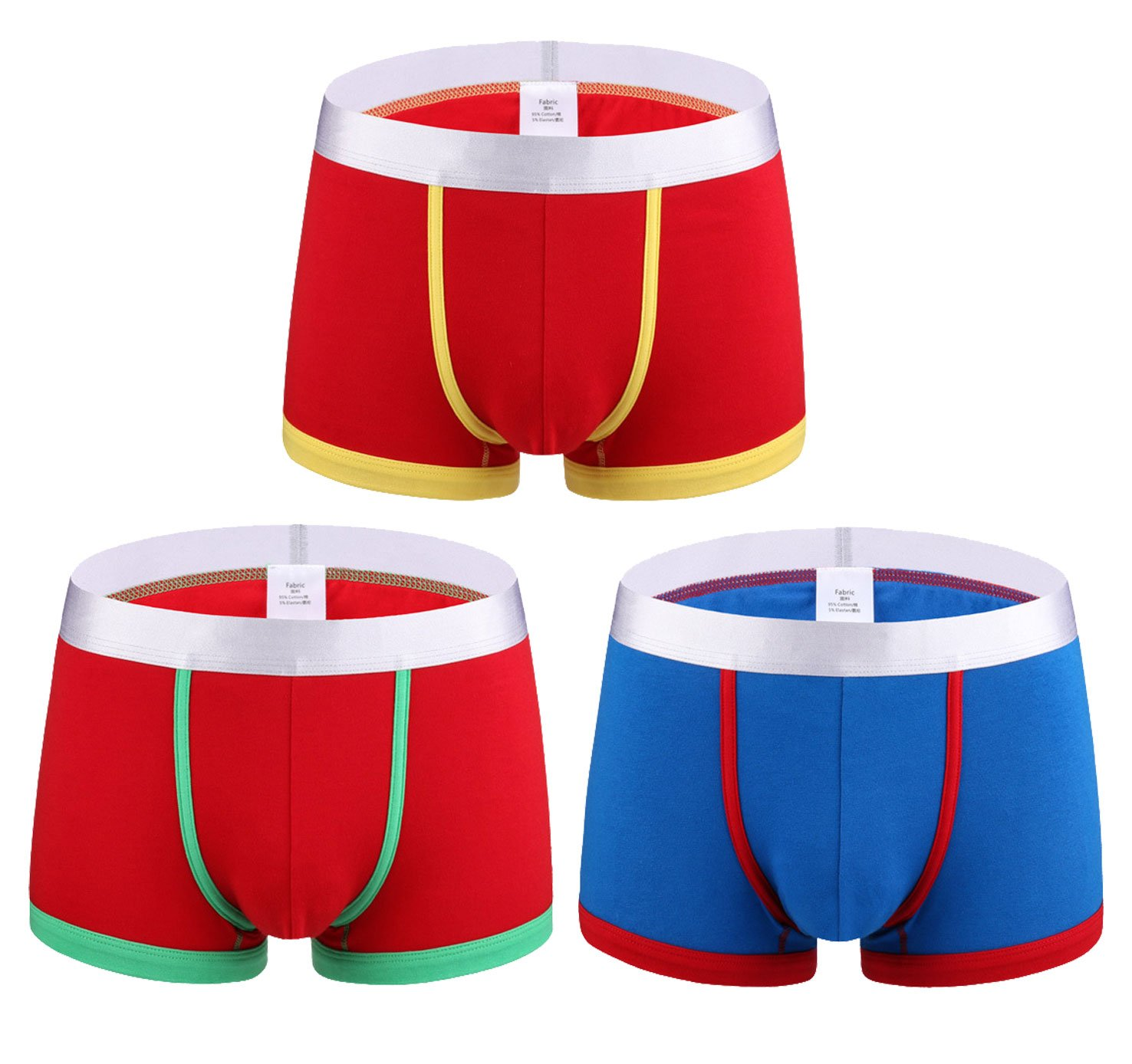 Femaroly Men's Boxer Briefs 3 Pack Fashion Underwear Pants Durable Underpants Blue_Red/Red_Green/Red_Yellow US S-Tag L Waist:29''-33''