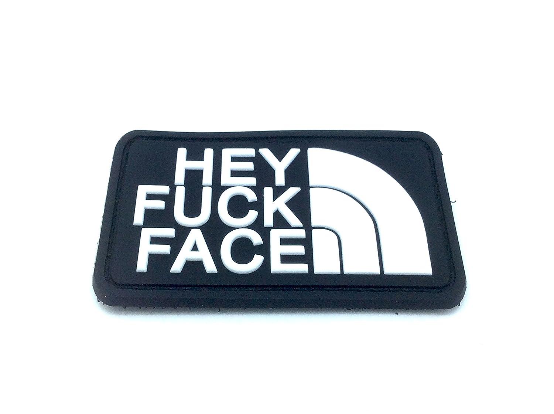 Klettband Aufnäher Hey Fuck Face PVC Airsoft Schwarz Patch Nation