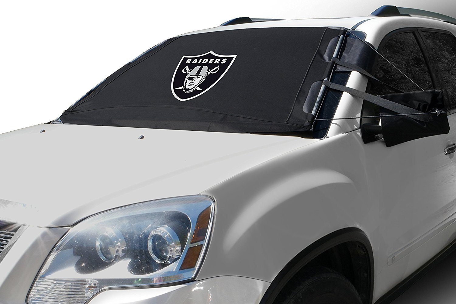 FrostGuard NFL Premium Winter Windshield Cover for Snow, Frost and Ice - Cold Weather Protection for Your Vehicle – Oakland Raiders, Standard Size