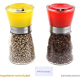 Salt and Pepper Grinder Shakers - Set of 2 - Yellow and Red - Grinding Mechanism Allows Adjustable Coarseness - Refillable Clear Glass Container with Wide Opening - Lid Keeps Contents Fresh and Dry