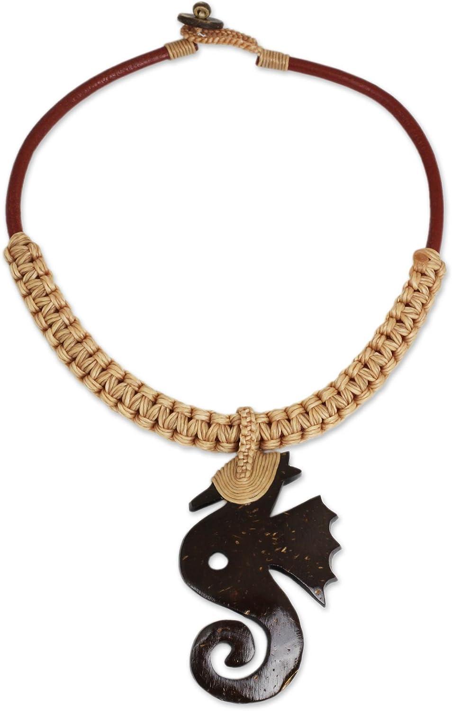 NOVICA Leather Coconut Shell Pendant Necklace, 17 Thai Seahorse