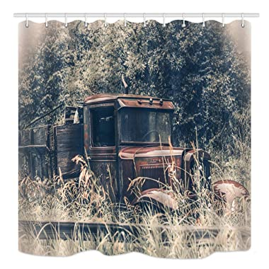 DYNH Old Car Shower Curtain, Abandoned Rusty Oldtimer Pickup Truck in Grass, Waterproof Fabric Bathroom Decor, Bath Curtains Accessories Hooks, 69X70 inches