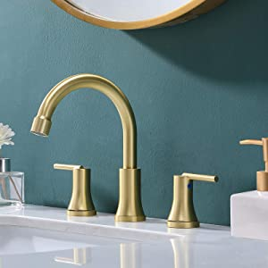 VESLA HOME Modern Stainless Steel Widespread 3 Hole Gold Bathroom Faucet,Lavatory Bathroom Vanity Sink Faucet Includes Supply Lines.