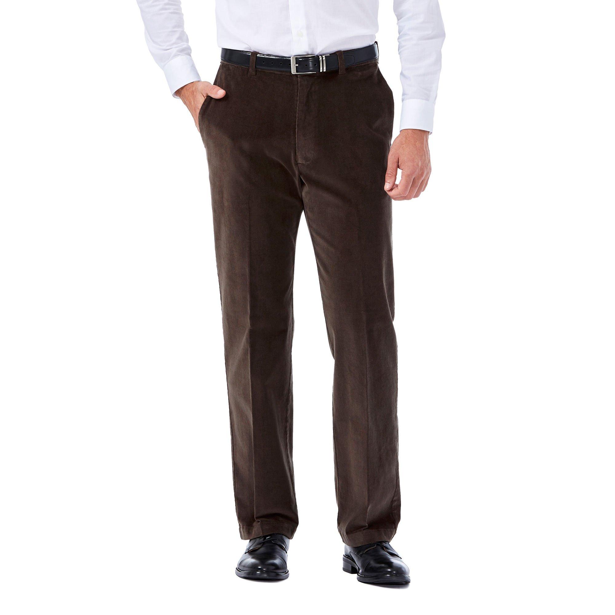Haggar Mens 21 Wale Stretch Corduroy Expandable Waist Classic Fit Plain Front Pant