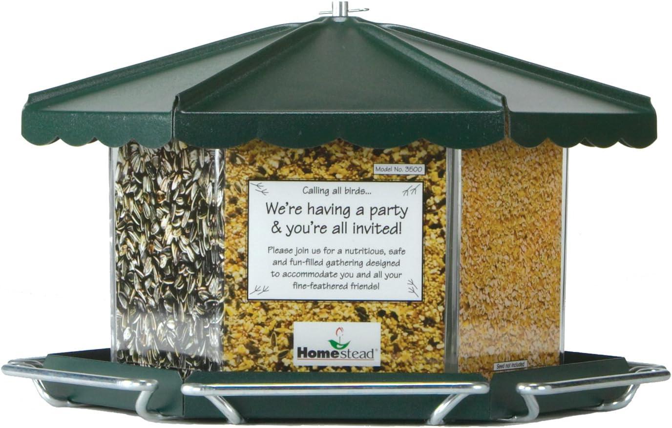 Homestead Triple Bin Party Bird Feeder (Green River Texture) - 3500