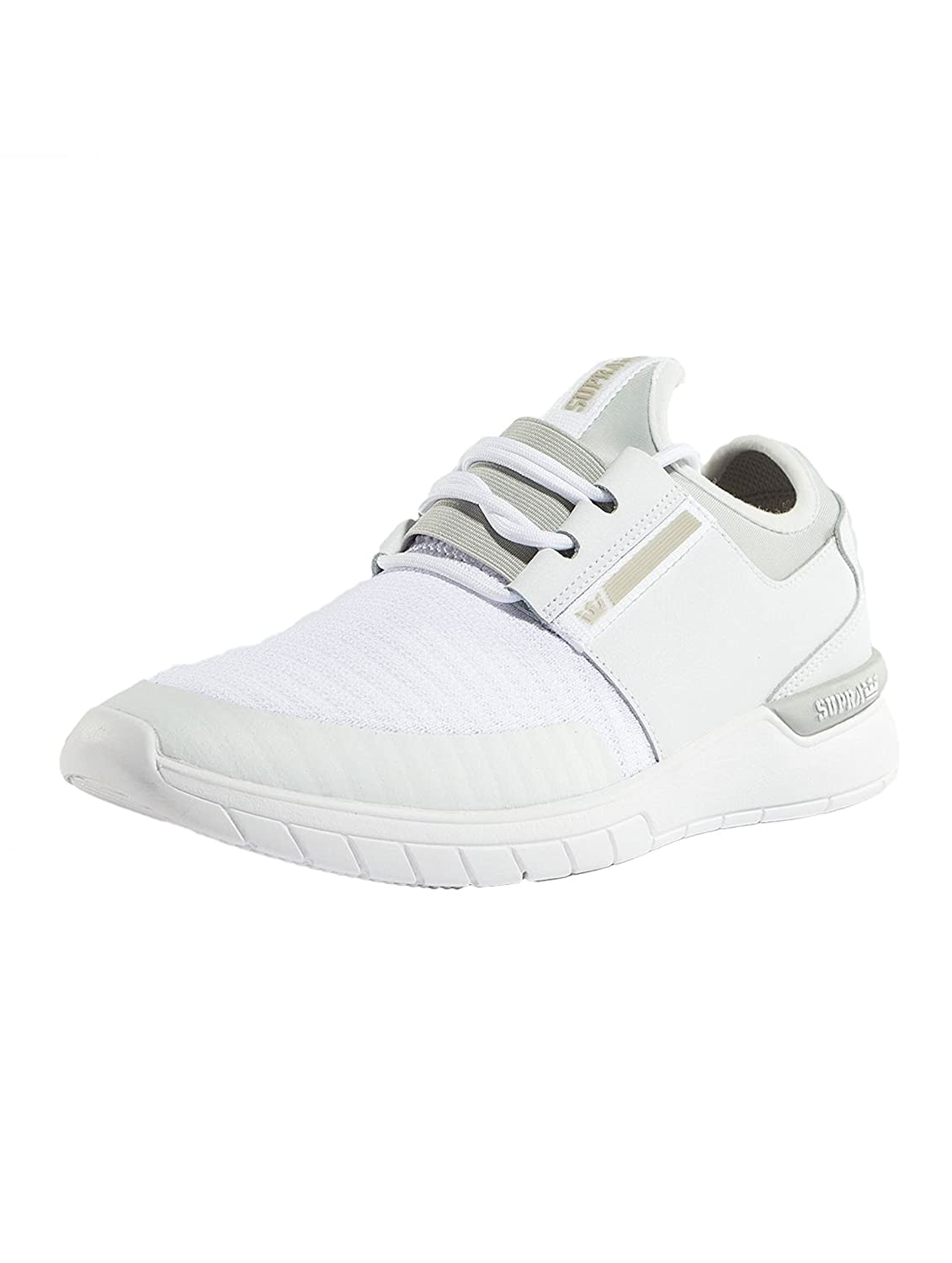 Supra Flow Run Skate Shoe B074KL3HWG 10 M US|White/Lt Grey-white