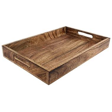 GoCraft Handmade Classic Wooden Tray for Serve Ware Kitchen Accessories - 15